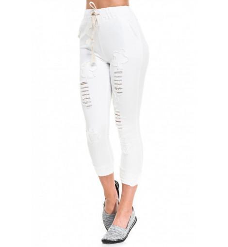 Белые рваные облегающие брюки с высокой талией