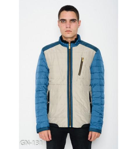 Бежевая демисезонная стеганая куртка на молнии с бирюзовыми рукавами