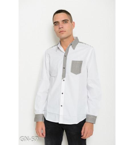 Белая коттоновая рубашка с полосатыми вставками