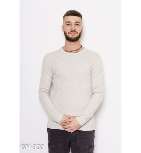 Бежевый фактурный трикотажный свитер с манжетами