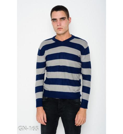 Ангоровый синий полосатый комфортный свитер с V-образной манжеткой на горловине
