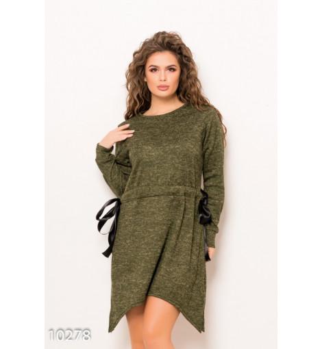 Ангоровое меланжевое асимметричное платье цвета хаки с кулиской