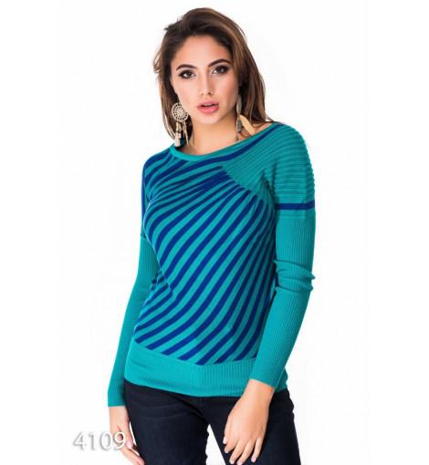 Бирюзово-синий свитер из ангорового трикотажа с диагональными полосками