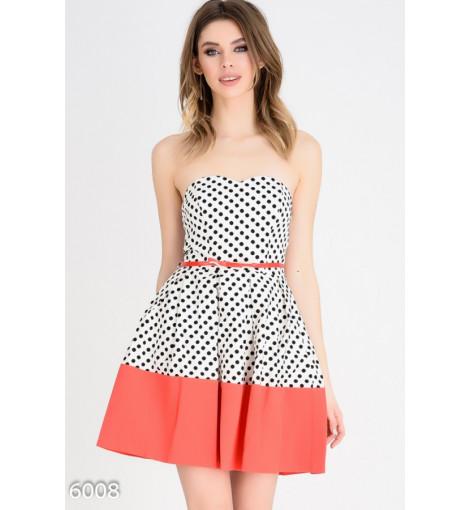 Белое в горошек пышное платье-бюстье с пышной юбкой и красной отделкой