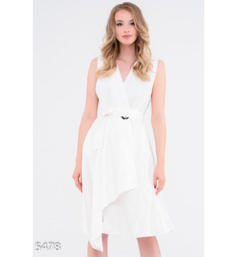 Белое многослойное платье с запахом