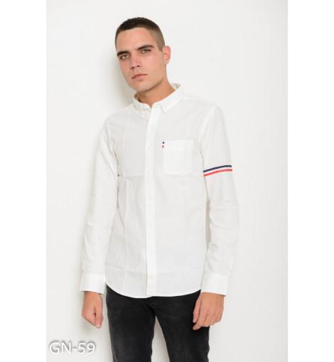 Белая коттоновая рубашка с длинными рукавами и полосатым декором на рукаве