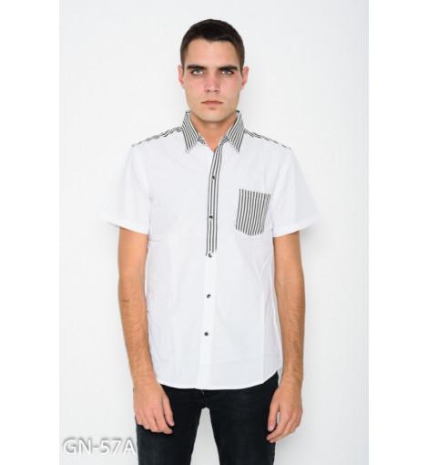 Белая коттоновая рубашка с полосатым декором и короткими рукавами
