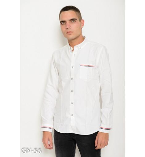 Белая коттоновая рубашка с длинными рукавами и полосатым лаконичным декором