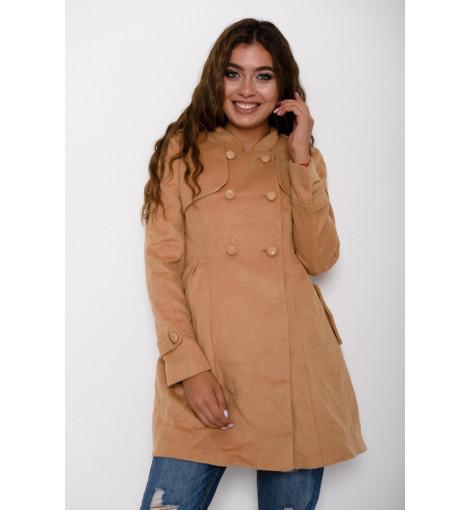 Бежевое демисезонное приталенное присборенное сзади пальто с кокеткой