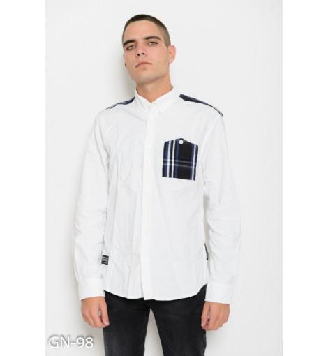 Белая коттоновая рубашка с клетчатыми вставками и длинными рукавами