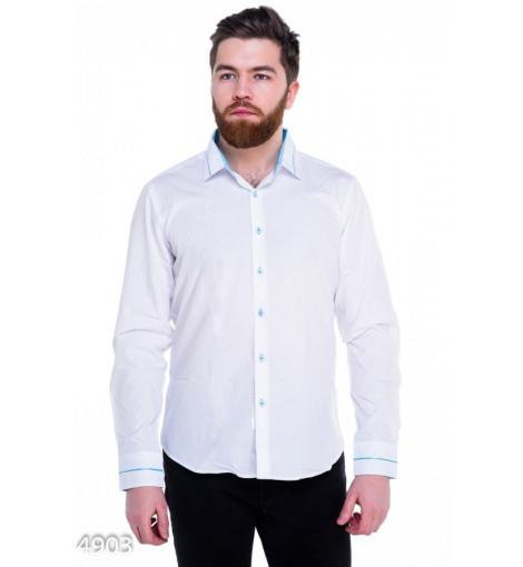Белая мужская классическая рубашка с тонкой голубой отделкой