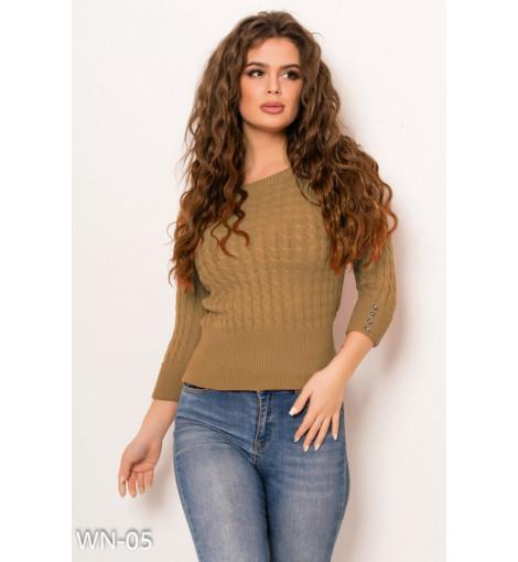 Бежевый укороченный свитер фактурной вязки с манжетами на рукавах