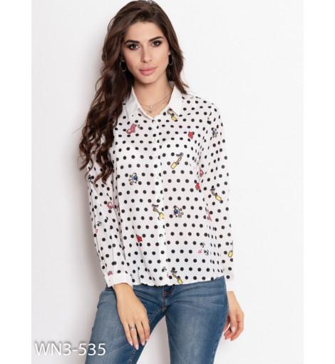 Белая шифоновая рубашка с принтом