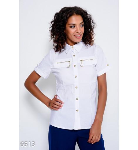 Белая рубашка из стрейч коттона с хлястиками на рукавах и молниями на груди