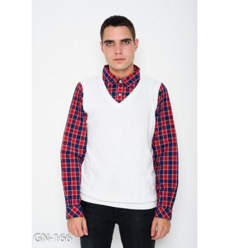 Белый комбинированный свитер с клетчатым коттоновым воротником и рукавами