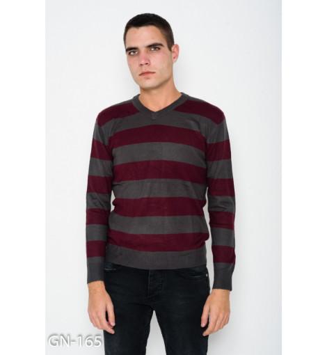 Ангоровый бордовый полосатый комфортный свитер с V-образной манжеткой на горловине