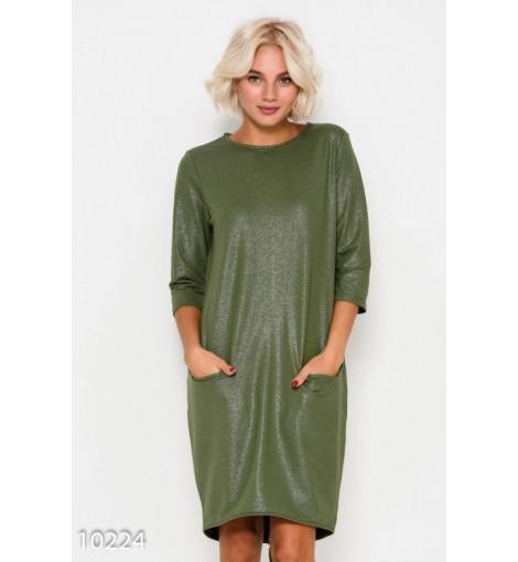 Асимметричное платье-баллон цвета хаки из трикотажа с люрексом и карманами