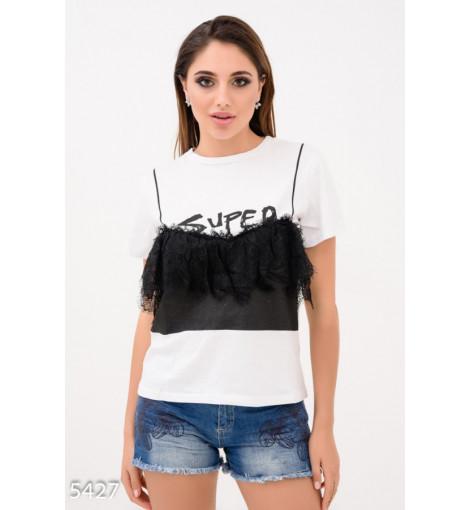 Белая футболка с черным кружевным фальш-топом