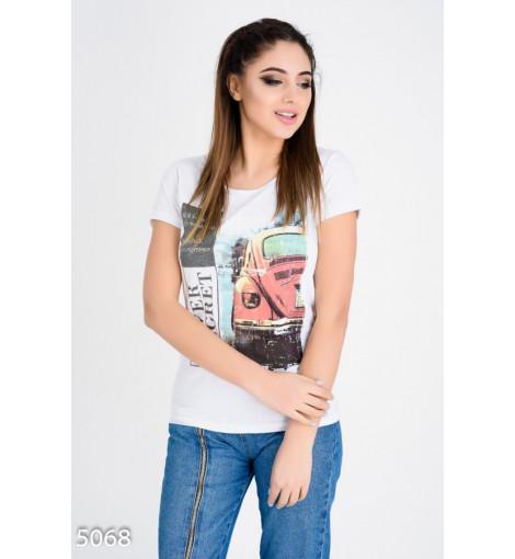 Белая футболка с фото-принтом ретро-автомобиля