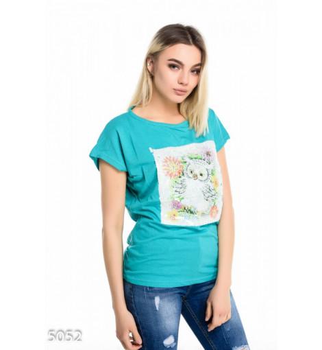 Бирюзовая футболка с короткими рукавами и крупной вышивкой пайетками с совой