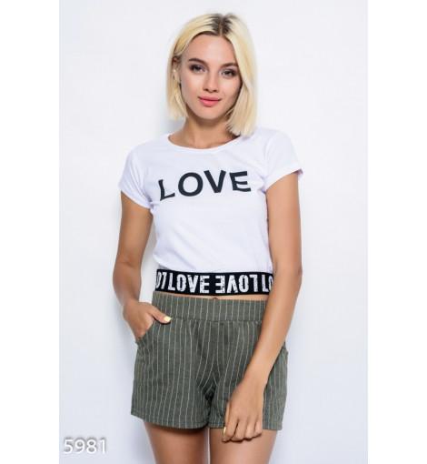 Белая трикотажная футболка с манжетой-резинкой и принтом LOVE
