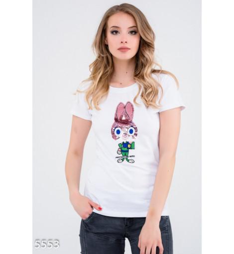 Белая футболка с Джуди Хопс из пайеток
